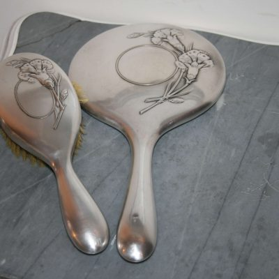 W243-Antieke zilveren handspiegel set