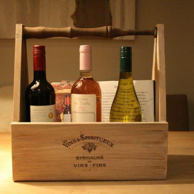 W015- Houten caddy voor lectuur, kruidenpotjes, wijn