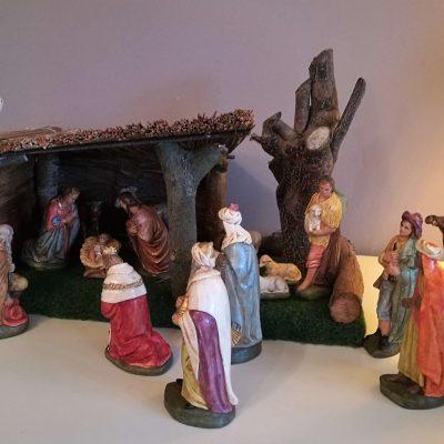 W010e antieke kerstgroep, kerstbeelden ca. 1900