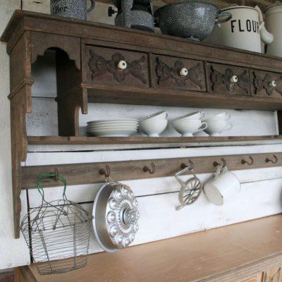 W007L- groot houten Frans wandrek, keukenrek