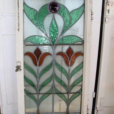 W061A- Art nouveau glas in lood raam Glasfabriek J.J.B.J. Bouvy